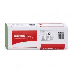 Katrin Classic Zig Zag Green Interleaf 2ply x 3000 sheets (361906)