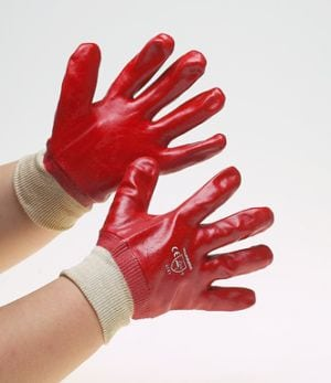 Warrior Red PVC Gloves Knitted Wrist (12 Pairs)